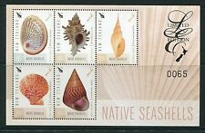 New Zealand 2015 Native Seashells Limited Edition Numbered Sheet of 5 Stamps NH