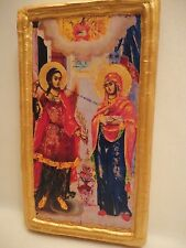 The Annunciation of Theotokos Mary St Gabriel Greek Orthodox Icon Wood Plaque