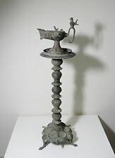 ZURQIEH - BEAUTIFUL ISLAMIC BRONZE OIL LAMP WITH STAND , KHORASAN , 11TH CENTURY