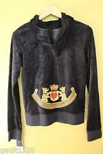 NWT Juicy Couture Navy Blue Velour Regal Gold Glitter Hoodie Jacket S $128