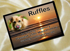 PERSONALISED PET MEMORIAL PLAQUE PHOTO 20cm x 15cm sunset design