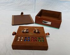 TATEOSSIAN MONTECARLO INTERCHANGEABLE SET OF 5 COLORED ENDS CARBON CUFFLINKS NIB