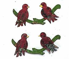 #1368X Vintage Birds Findings Stampings Hand painted NOS Components Cardinal