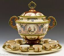 HUGE ANTIQUE METTLACH VILLEROY & BOCH GERMAN POTTERY PUNCH BOWL SET