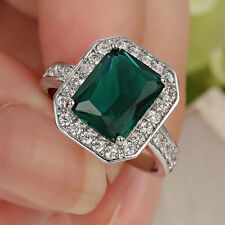 Size 6  Malachite Green  Wedding Band Ring Women's 10KT white Gold Filled