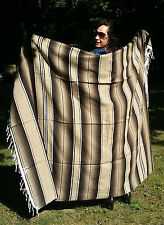 "Mexican Serape Sarape Fringed Blanket Bedspread 84"" x 60"" Tan Brown Beige"