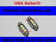 3 LED SMD 6000K White 6418 C5W CANBUS ERROR FREE LICENSE PLATE LIGHTS BULBS BMW