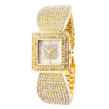Alias Kim Square Gold Crystal Case Face Women Steel Bangle Bracelet Quartz Watch