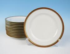 """Set of 12 Haviland Limoges Red & Gold Band 8.75"""" Plates Antique Porcelain Salad"""