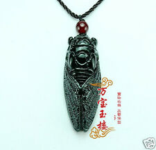 Natural Hand-carved Chinese Hetian Black Jade Pendant Amulet Cicada