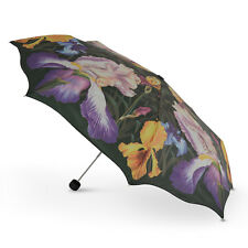 New Cascada Collection - Iris Print Floral Folding Umbrella with Scalloped Edge