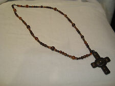 """Fashion Gold Tone 33"""" Brown Beaded Stone (3"""" Cross) Necklace--Hangs 39"""" Long"""
