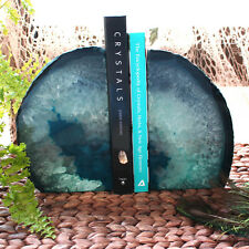 Teal Agate Bookend Pair - 6 to 9 lb - Geode Bookend