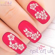 White Flower & Rhinestone Adhesive Nail Stickers, Decals, Art 01.02.079