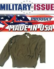 NEW Military Issue ARMY SWEATER 5 Button OD/Brown Army Jeep Sweater (MED 38-40)