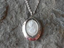 CAMEO LOCKET NECKLACE!! VICTORIAN WOMAN - WHITE -.925 SILV PLATE CHAIN- QUALITY