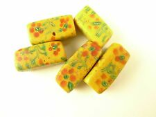 5 pcs rectangular floral fancy Venetian glass tribal beads African trade AC-0036