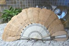 STUNNING victorian Moire SILK FAN French celluloid handle silver tabs