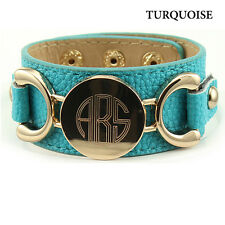 Turquoise Persoanlized Leather Cuff Bracelet - 12 Colors Available - Great Gift