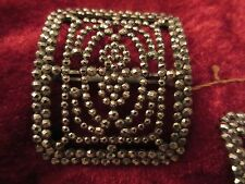 Antique Pair MADE IN FRANCE French Cut Steel Micro Bead Shoe Buckles Clip
