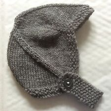 HAND KNITTED BABY HAT - BIRTH TO 3 MONTH GREY