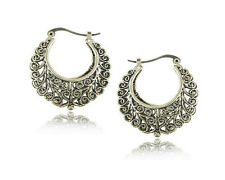 Glitz Fashion Retro Silver Vintage Big Hoop Earrings for Women