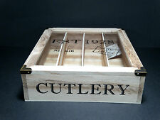 Schabby Chic Wooden Rustic Cutlery  Box With Glass Lid And Compartments