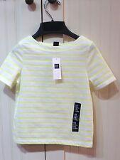 GAP Kids Girls NEW Size 4-5 XS White Neon Yellow Short Sleeve Stripe Shirt