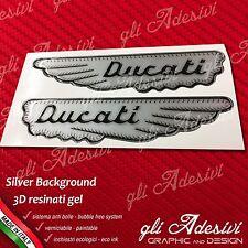 2 Adesivi Resinati Sticker 3D DUCATI ALA Argento e Nero old 15 cm