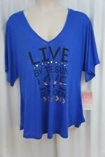 Miken Cover Up Sz M Blue Short Sleeve Swimwear Cover Up Shirt Swim I9938JX4613