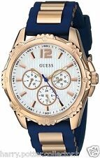 GUESS U0325L8 BLUE AND ROSE GOLD-TONE ACTIVE MIDSIZE SPORT WATCH