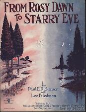 1922 Fort Wayne IN Private Press Sheet Music (From Rosy Dawn to Starry Eve)