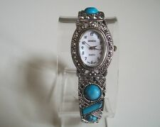 Vintage Look Bracelet Marcasite/Turquoise Antique Special Occasion Oval Watch