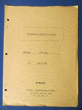 TRIO JR-200 TECHNICAL SPECIFICATIONS & SCHEMATIC ORIGINAL FACTORY ISSUE 1968