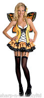 Ladies Sexy Yellow Fairy Butterfly with Wings Nymph Fancy Dress Costume Outfit