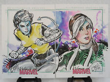 ROGUE X-MEN 2013 PAIR OF ORIGINAL WOMEN OF MARVEL SKETCH CARDS