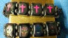 2 Pulseras De Cráneos Gótico Cruz & Elástico Gratis Reino Unido P&p Whitby-gótico-punk-Emo