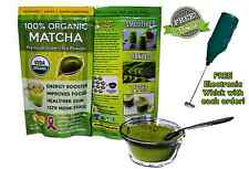 Matcha Green Tea Powder - 100% USDA Organic Certified - FREE Electronic Whisk!