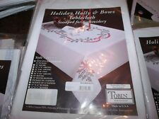 """Tobin Stamped Cross Stitch Tablecloth HOLIDAY HOLLY & BOWS 58"""" ROUND"""