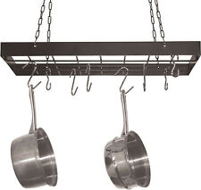 Hanging Pot Rack + Hooks Kitchen Ceiling Hanger Storage Organizer Pans Skillets