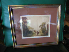 Vintage Possibly Antique French Signed Etching of Man on Horse in Landscape