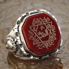 925 Sterling Silver Unique Islamic Talisman Ring Seal of Solomon engraved Aqeeq