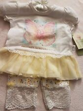 "Newborn baby girl 2 pc Anne Geddes top and crop pant ""Protect Nurture Love"" RARE"