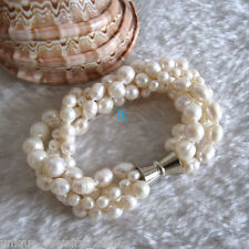 "8.5"" 4-10mm 4Row White Freshwater Pearl Bracelet Off Round Rice Natural"