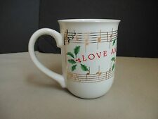 Hallmark Japan Christmas Mug Love And Joy Come To You Music Notes Holly Berries