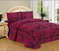Hot Pink Zebra Print Queen Size Sheet Set 4 PC Safari Animal Print Bedding Gift