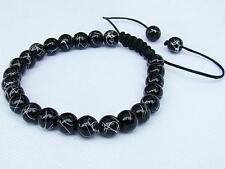 Black Men's beaded bracelet all 8mm Drawbench Glass Beads