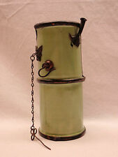 Wind Proof Flint Lighter Kerosene Antique Bar Top Tavern Green Ceramic 1800s