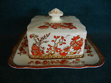 Copeland Spode Indian India Tree Old Mark Square Covered Butter Dish RARE!
