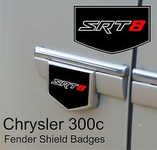 Chrysler 300c SRT8 Fender Side Shield Badge Emblems (Red / Black / Chrome)